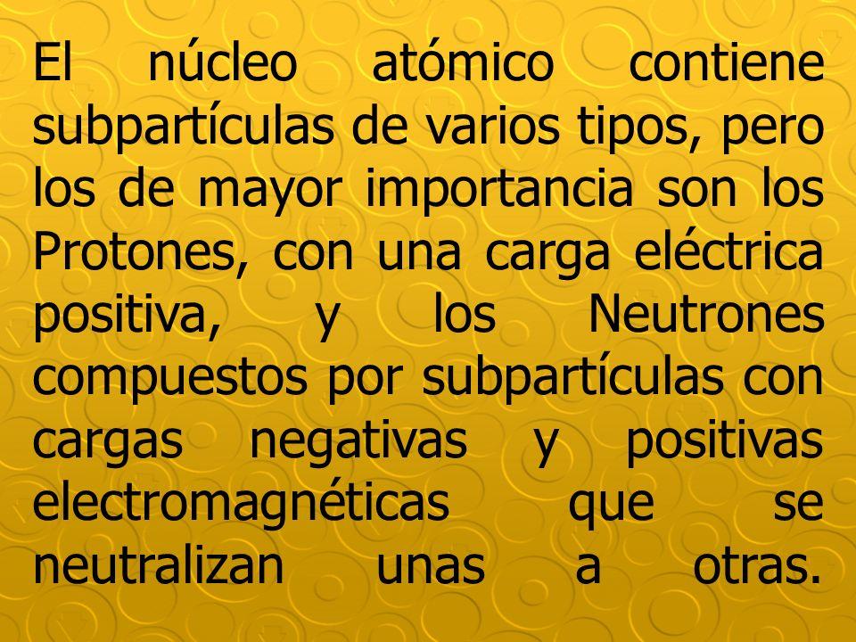 El núcleo atómico contiene subpartículas de varios tipos, pero los de mayor importancia son los Protones, con una carga eléctrica positiva, y los Neut