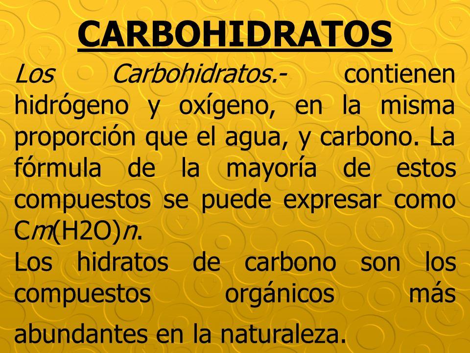 CARBOHIDRATOS Los Carbohidratos.- contienen hidrógeno y oxígeno, en la misma proporción que el agua, y carbono. La fórmula de la mayoría de estos comp