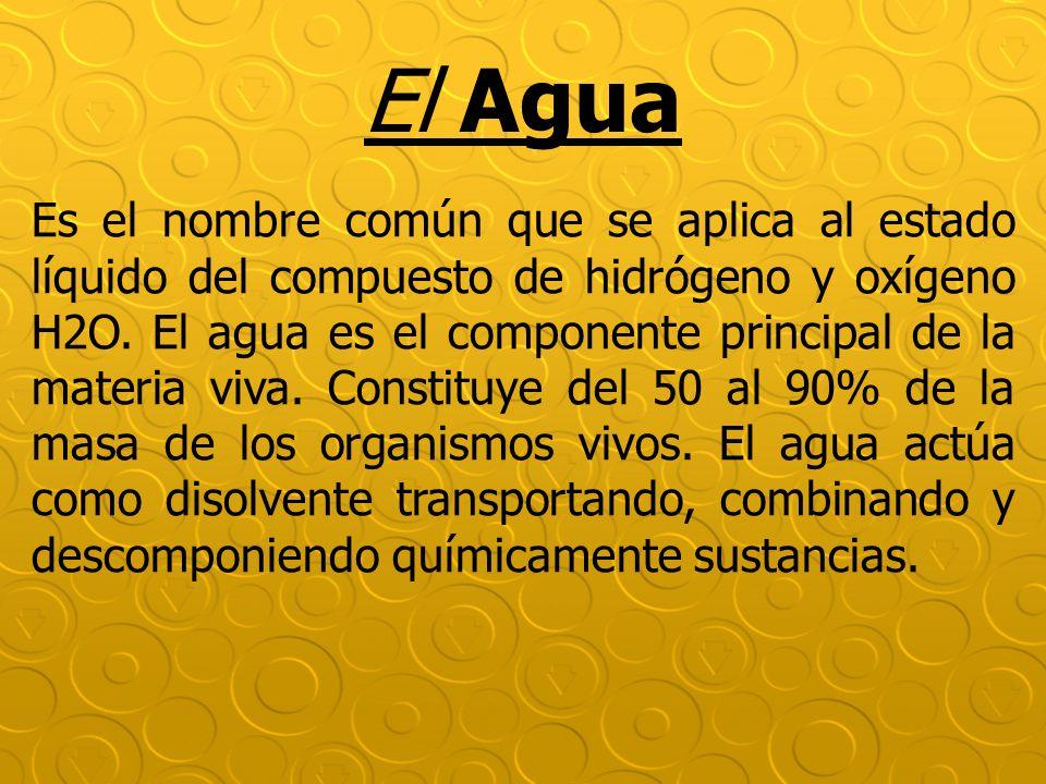 El Agua Es el nombre común que se aplica al estado líquido del compuesto de hidrógeno y oxígeno H2O. El agua es el componente principal de la materia