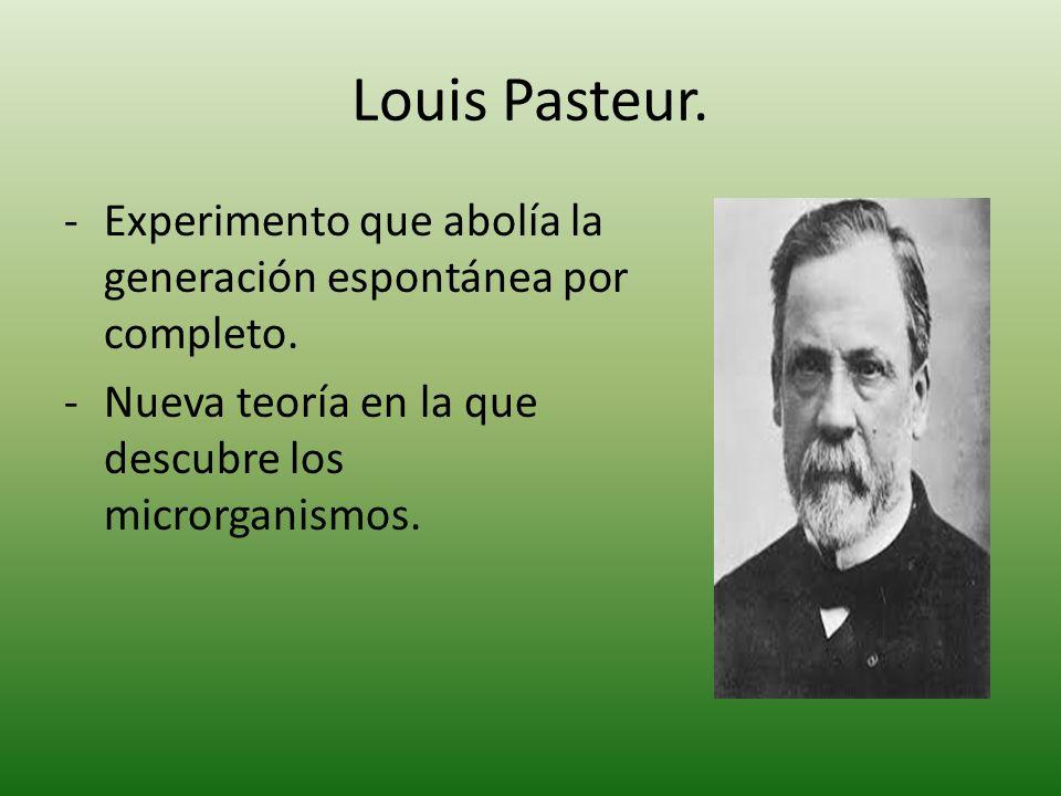 Louis Pasteur. -Experimento que abolía la generación espontánea por completo. -Nueva teoría en la que descubre los microrganismos.