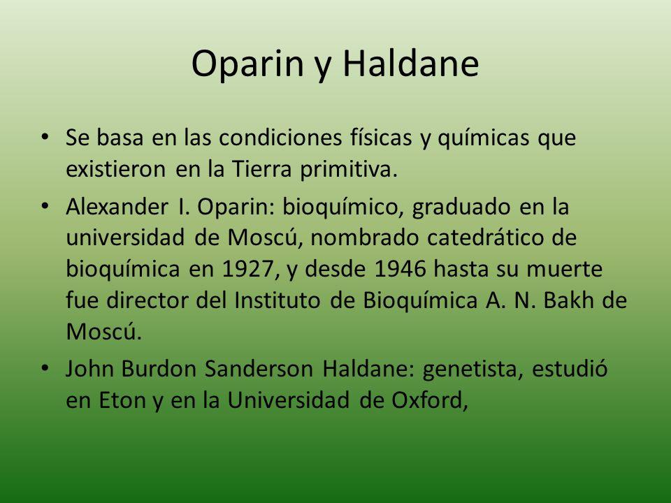 Oparin y Haldane Se basa en las condiciones físicas y químicas que existieron en la Tierra primitiva. Alexander I. Oparin: bioquímico, graduado en la