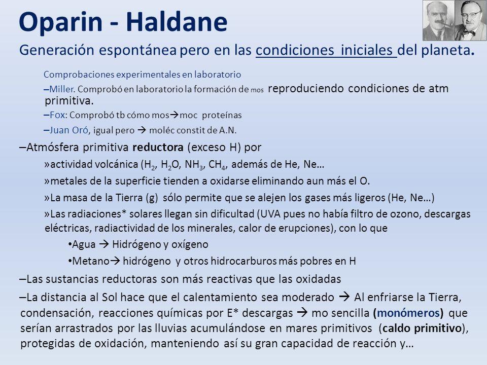 Oparin - Haldane Generación espontánea pero en las condiciones iniciales del planeta. Comprobaciones experimentales en laboratorio – Miller. Comprobó