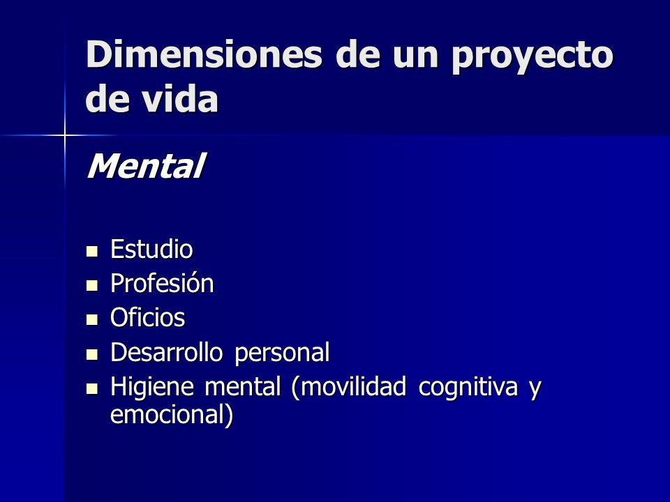 Dimensiones de un proyecto de vida Mental Estudio Estudio Profesión Profesión Oficios Oficios Desarrollo personal Desarrollo personal Higiene mental (movilidad cognitiva y emocional) Higiene mental (movilidad cognitiva y emocional)