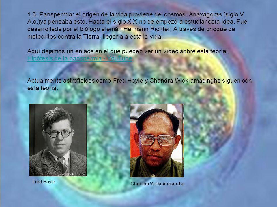 1.3. Panspermia: el origen de la vida proviene del cosmos. Anaxágoras (siglo V A.c.)ya pensaba esto. Hasta el siglo XIX no se empezó a estudiar esta i