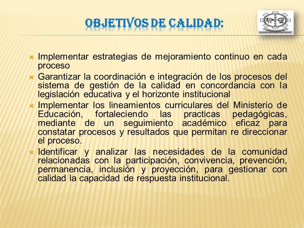 Implementar estrategias de mejoramiento continuo en cada proceso Garantizar la coordinación e integración de los procesos del sistema de gestión de la