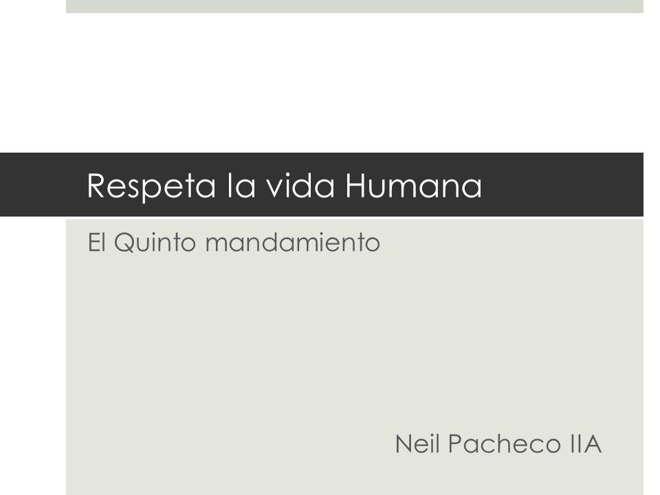Respeta la vida Humana El Quinto mandamiento Neil Pacheco IIA