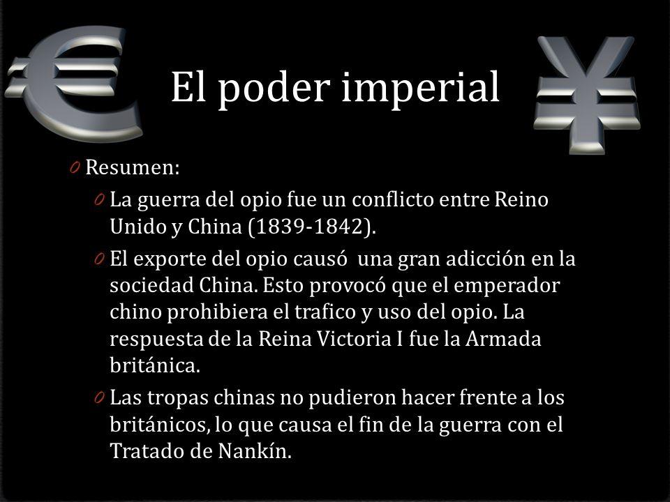El poder imperial 0 Resumen: 0 La guerra del opio fue un conflicto entre Reino Unido y China (1839-1842).