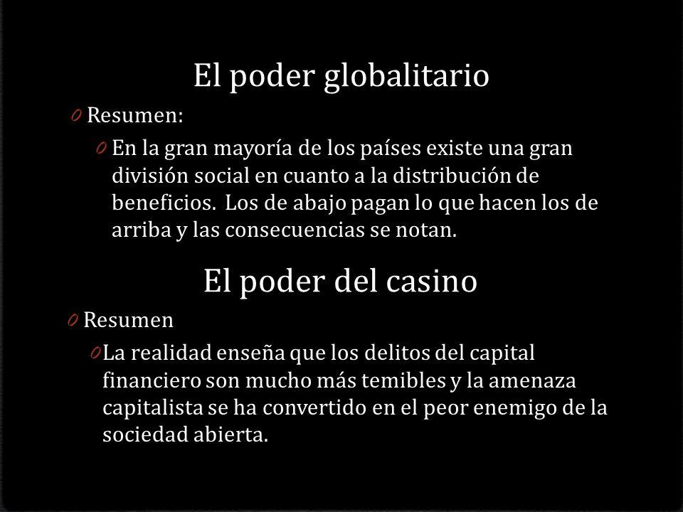El poder del casino 0 Resumen 0 La realidad enseña que los delitos del capital financiero son mucho más temibles y la amenaza capitalista se ha convertido en el peor enemigo de la sociedad abierta.