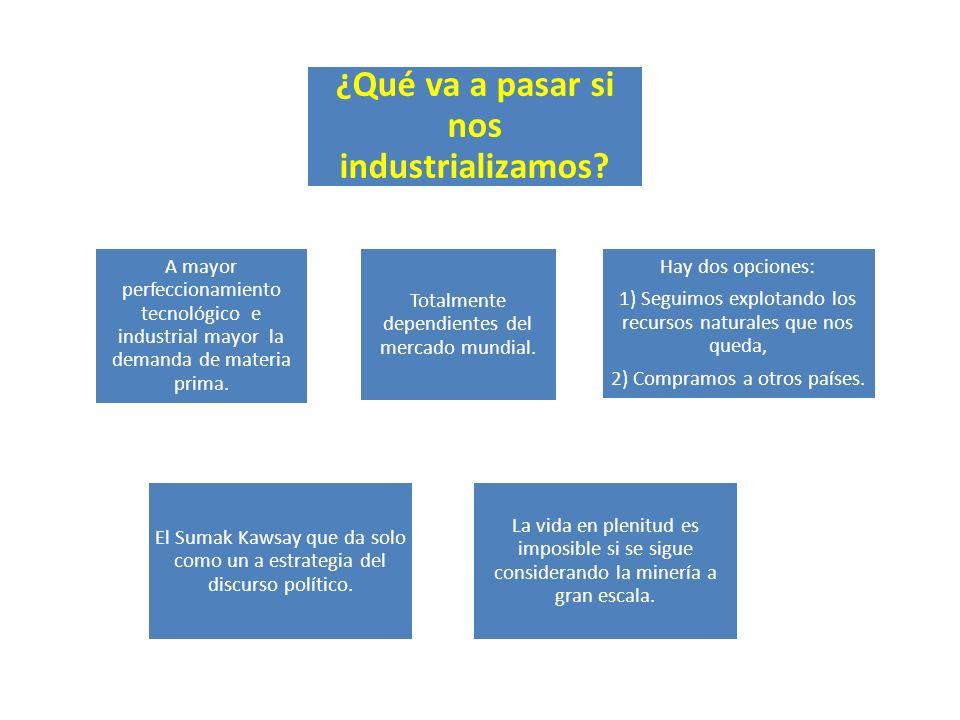¿Qué va a pasar si nos industrializamos.Totalmente dependientes del mercado mundial.