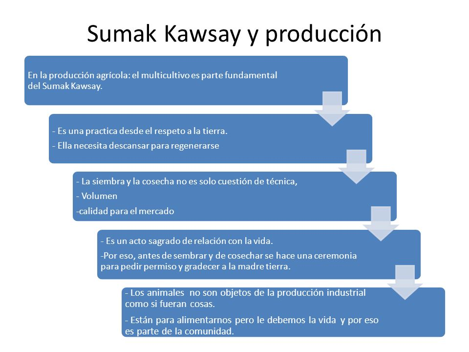 Sumak Kawsay y producción En la producción agrícola: el multicultivo es parte fundamental del Sumak Kawsay.