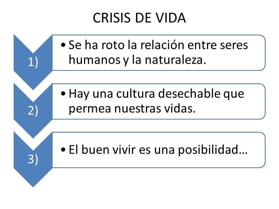 CRISIS DE VIDA 1) Se ha roto la relación entre seres humanos y la naturaleza.
