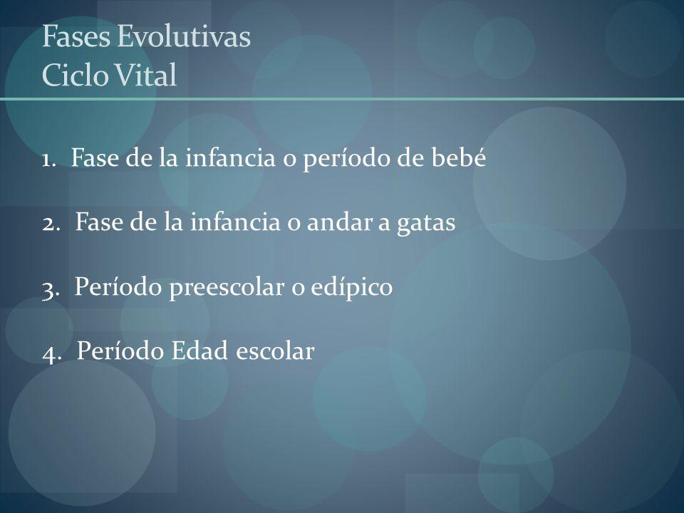 Fases Evolutivas Ciclo Vital 1. Fase de la infancia o período de bebé 2. Fase de la infancia o andar a gatas 3. Período preescolar o edípico 4. Períod