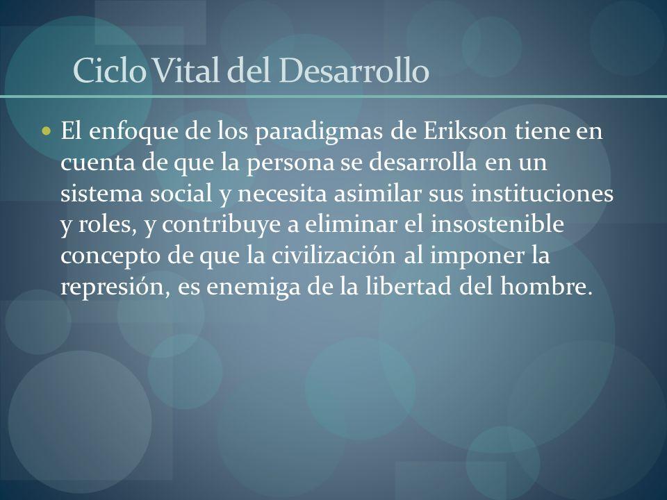 Ciclo Vital del Desarrollo El enfoque de los paradigmas de Erikson tiene en cuenta de que la persona se desarrolla en un sistema social y necesita asi