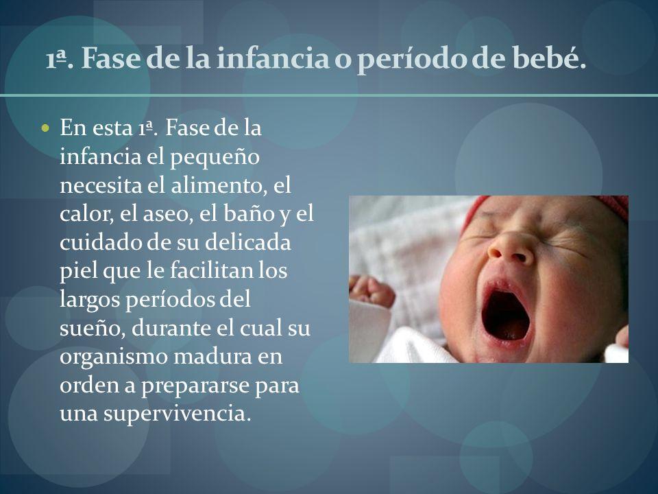 1ª. Fase de la infancia o período de bebé. En esta 1ª. Fase de la infancia el pequeño necesita el alimento, el calor, el aseo, el baño y el cuidado de