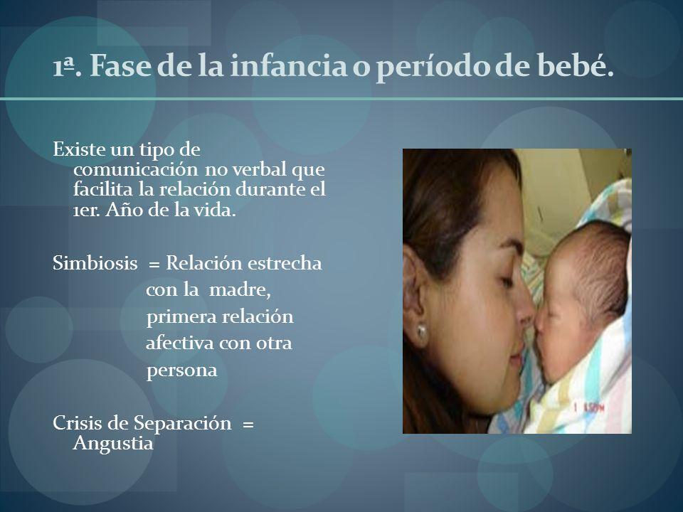 1ª. Fase de la infancia o período de bebé. Existe un tipo de comunicación no verbal que facilita la relación durante el 1er. Año de la vida. Simbiosis