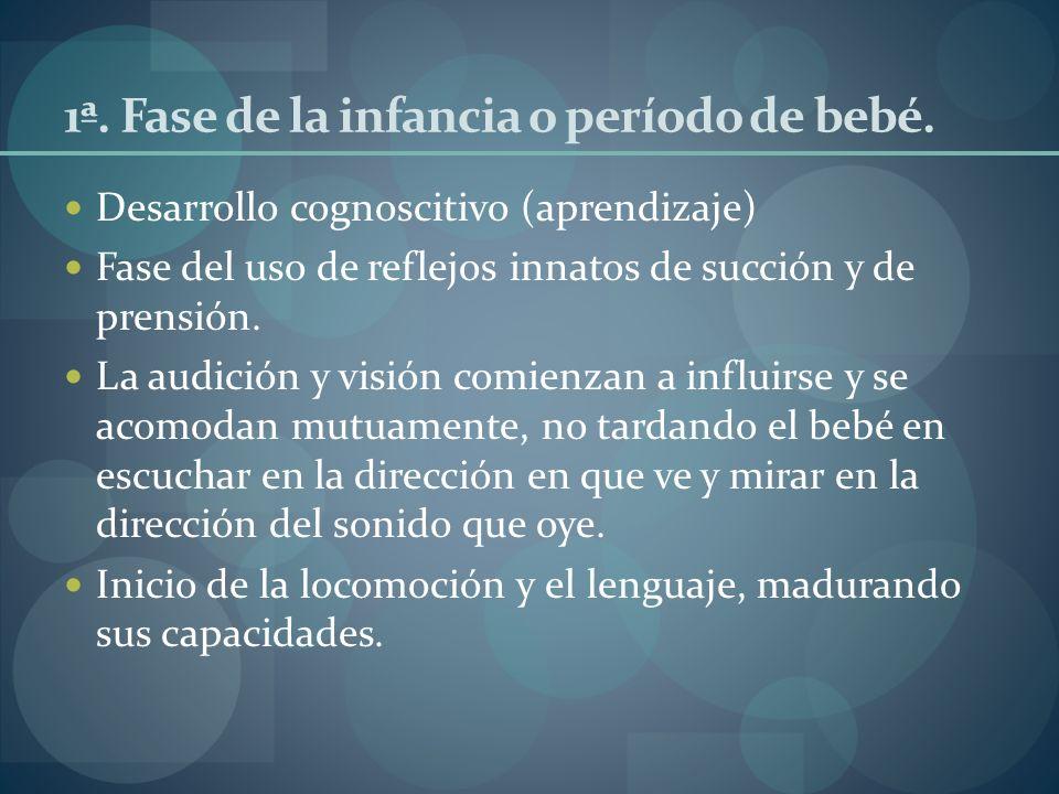1ª. Fase de la infancia o período de bebé. Desarrollo cognoscitivo (aprendizaje) Fase del uso de reflejos innatos de succión y de prensión. La audició