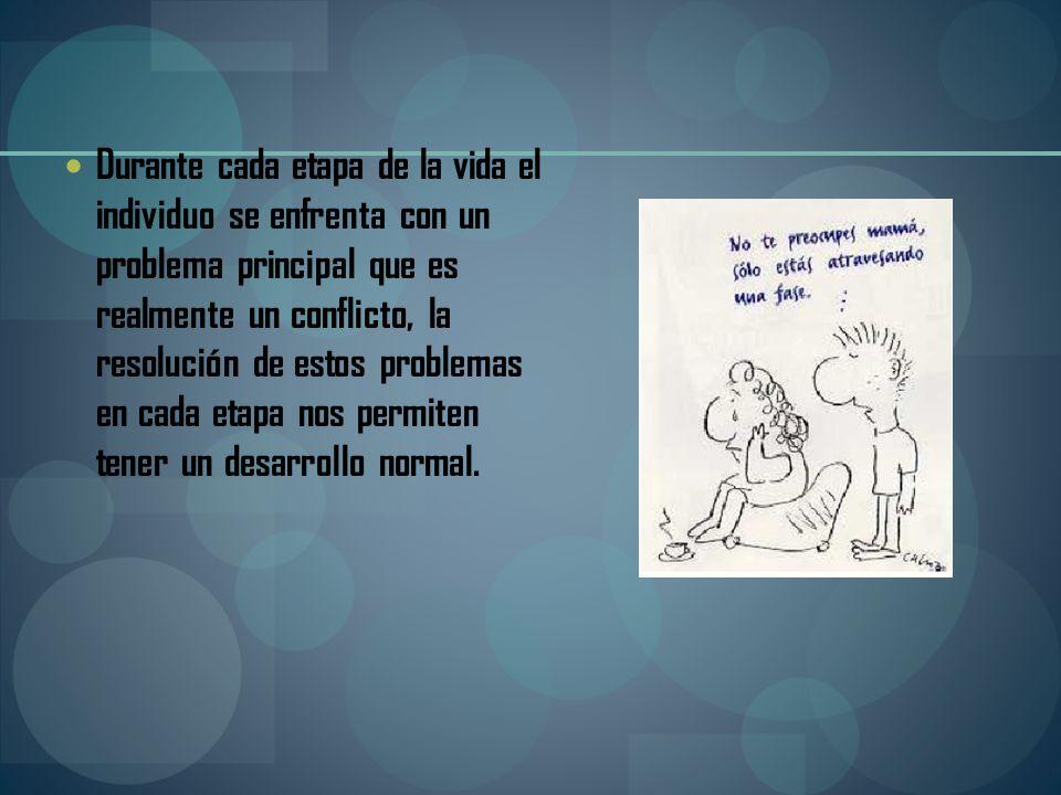 Durante cada etapa de la vida el individuo se enfrenta con un problema principal que es realmente un conflicto, la resolución de estos problemas en ca