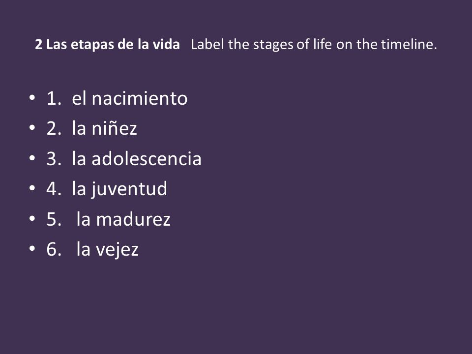 2 Las etapas de la vida Label the stages of life on the timeline. 1. el nacimiento 2. la niñez 3. la adolescencia 4. la juventud 5. la madurez 6. la v