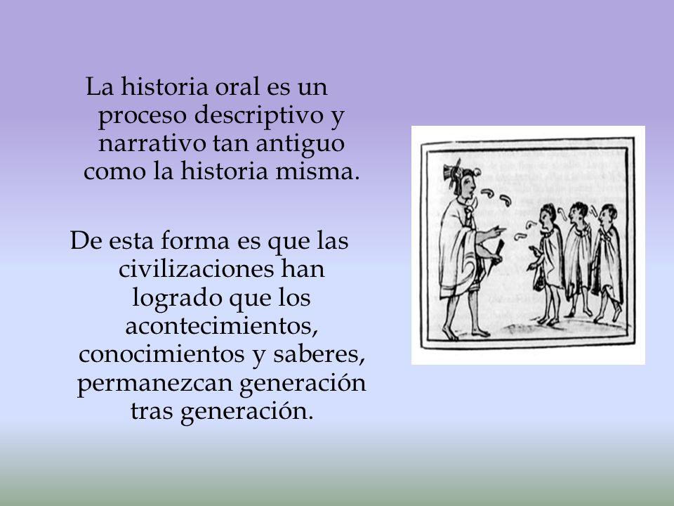 La historia oral es un proceso descriptivo y narrativo tan antiguo como la historia misma.