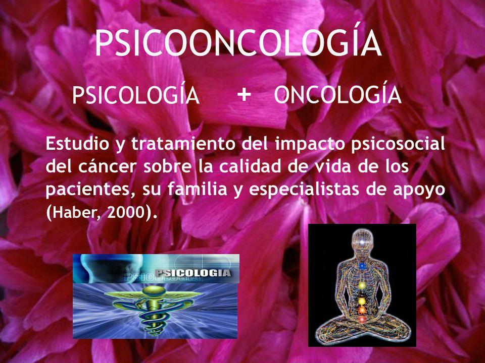 PSICOLOGÍA ONCOLOGÍA Estudio y tratamiento del impacto psicosocial del cáncer sobre la calidad de vida de los pacientes, su familia y especialistas de apoyo ( Haber, 2000 ).