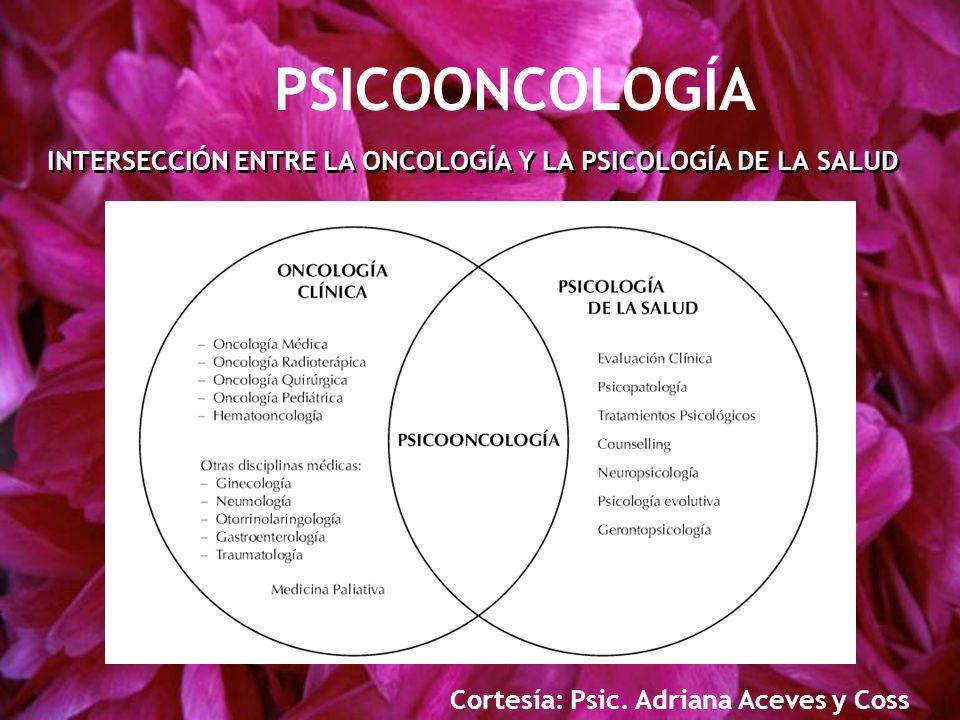 INTERSECCIÓN ENTRE LA ONCOLOGÍA Y LA PSICOLOGÍA DE LA SALUD Cortesía: Psic. Adriana Aceves y Coss PSICOONCOLOGÍA