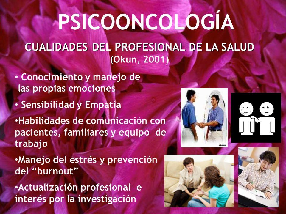CUALIDADES DEL PROFESIONAL DE LA SALUD ( CUALIDADES DEL PROFESIONAL DE LA SALUD (Okun, 2001) PSICOONCOLOGÍA Conocimiento y manejo de las propias emoci