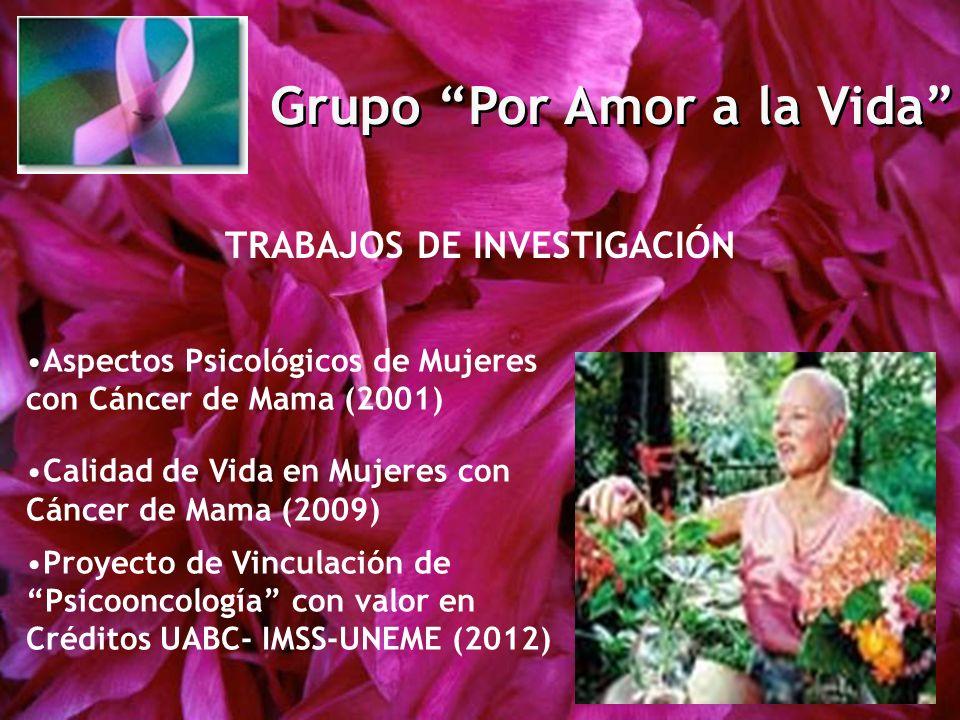 Grupo Por Amor a la Vida TRABAJOS DE INVESTIGACIÓN Aspectos Psicológicos de Mujeres con Cáncer de Mama (2001) Calidad de Vida en Mujeres con Cáncer de
