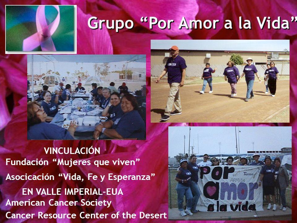 Grupo Por Amor a la Vida VINCULACIÓN Fundación Mujeres que viven Asocicación Vida, Fe y Esperanza EN VALLE IMPERIAL-EUA American Cancer Society Cancer Resource Center of the Desert