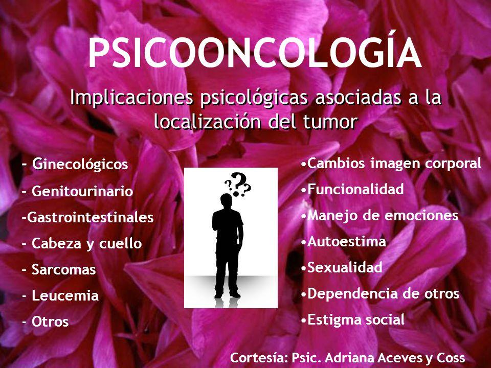 Implicaciones psicológicas asociadas a la localización del tumor - G - G inecológicos - Genitourinario -Gastrointestinales - Cabeza y cuello - Sarcoma