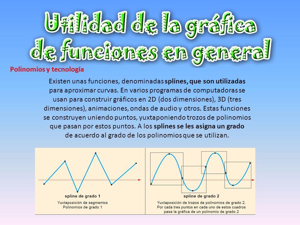 Existen unas funciones, denominadas splines, que son utilizadas para aproximar curvas. En varios programas de computadoras se usan para construir gráf