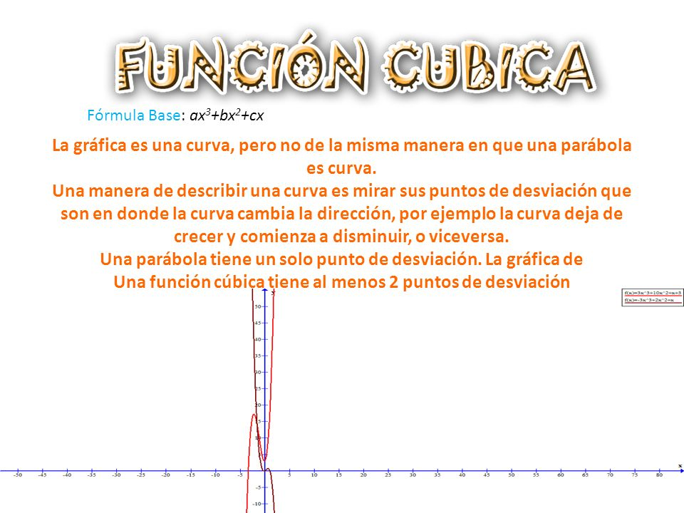Fórmula Base: ax 3 +bx 2 +cx La gráfica es una curva, pero no de la misma manera en que una parábola es curva.