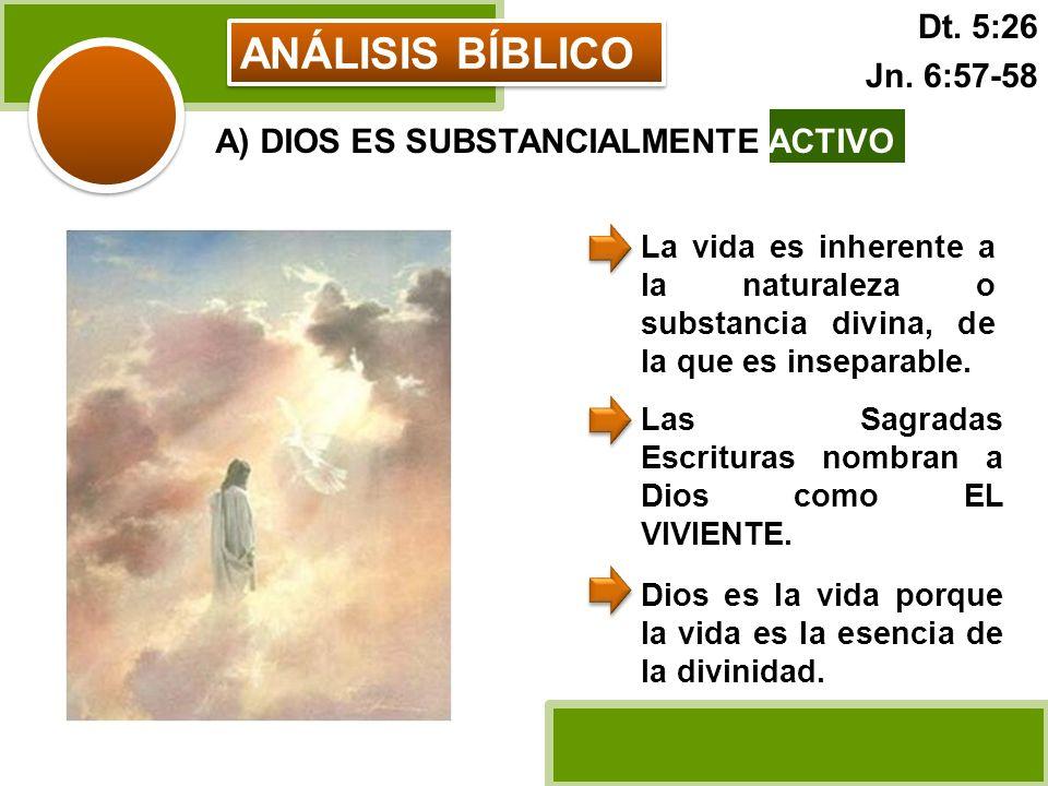 ANÁLISIS BÍBLICO A) DIOS ES SUBSTANCIALMENTE ACTIVO La vida es inherente a la naturaleza o substancia divina, de la que es inseparable. Las Sagradas E