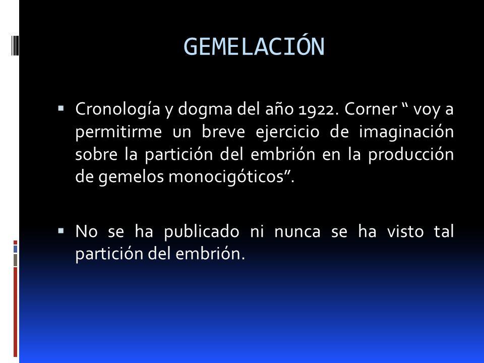 GEMELACIÓN Cronología y dogma del año 1922. Corner voy a permitirme un breve ejercicio de imaginación sobre la partición del embrión en la producción