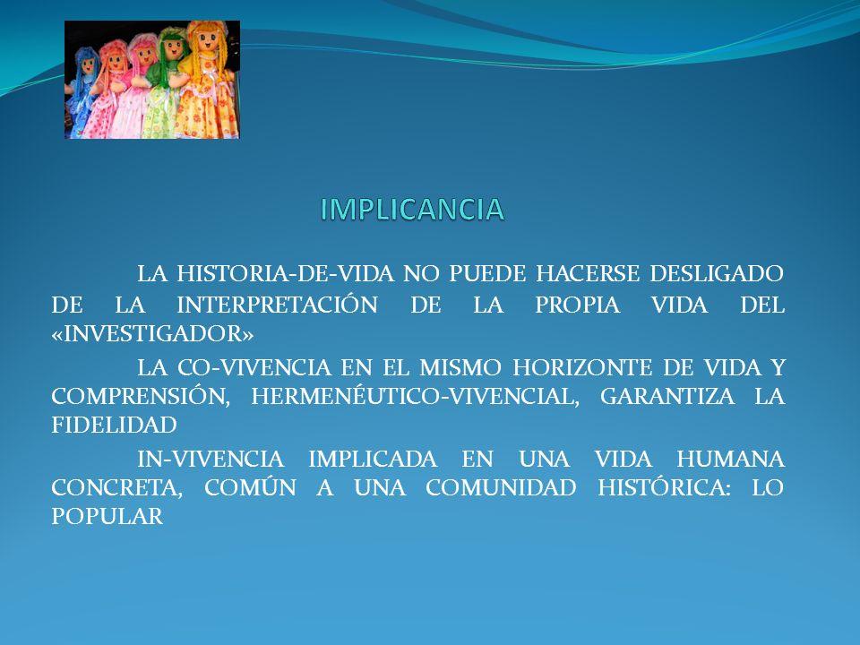 LA HISTORIA-DE-VIDA NO PUEDE HACERSE DESLIGADO DE LA INTERPRETACIÓN DE LA PROPIA VIDA DEL «INVESTIGADOR» LA CO-VIVENCIA EN EL MISMO HORIZONTE DE VIDA