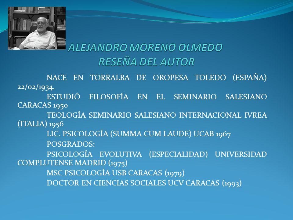 NACE EN TORRALBA DE OROPESA TOLEDO (ESPAÑA) 22/02/1934. ESTUDIÓ FILOSOFÍA EN EL SEMINARIO SALESIANO CARACAS 1950 TEOLOGÍA SEMINARIO SALESIANO INTERNAC