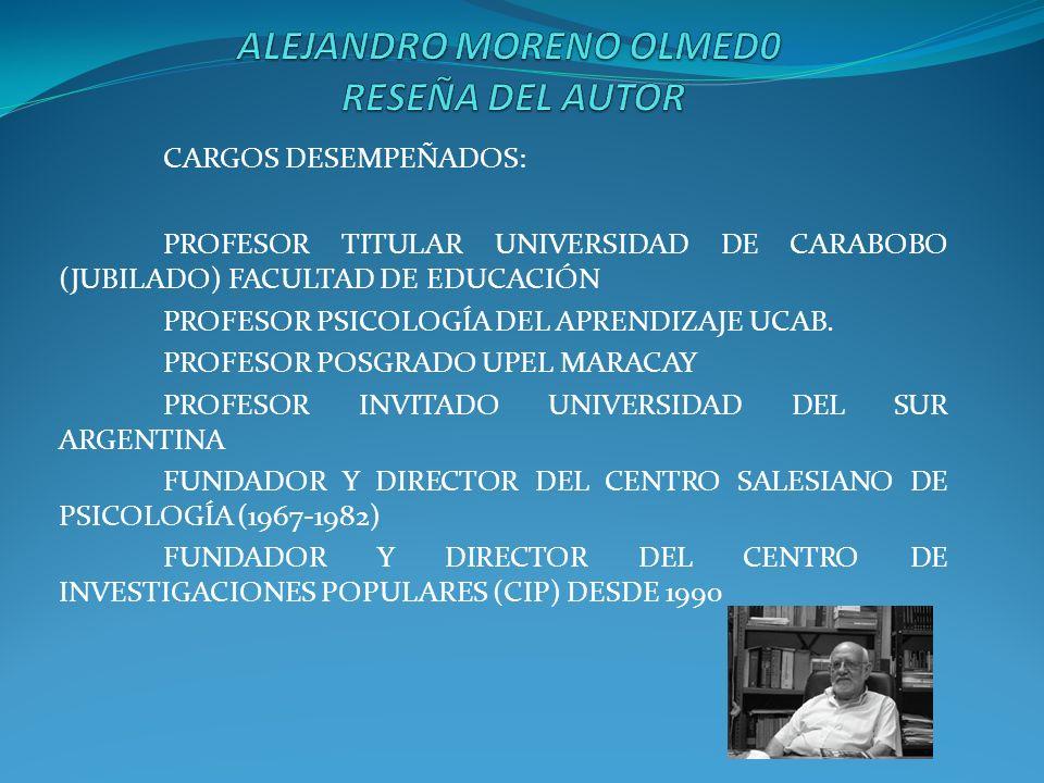 CARGOS DESEMPEÑADOS: PROFESOR TITULAR UNIVERSIDAD DE CARABOBO (JUBILADO) FACULTAD DE EDUCACIÓN PROFESOR PSICOLOGÍA DEL APRENDIZAJE UCAB. PROFESOR POSG