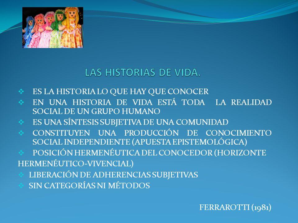 ES LA HISTORIA LO QUE HAY QUE CONOCER EN UNA HISTORIA DE VIDA ESTÁ TODA LA REALIDAD SOCIAL DE UN GRUPO HUMANO ES UNA SÍNTESIS SUBJETIVA DE UNA COMUNID