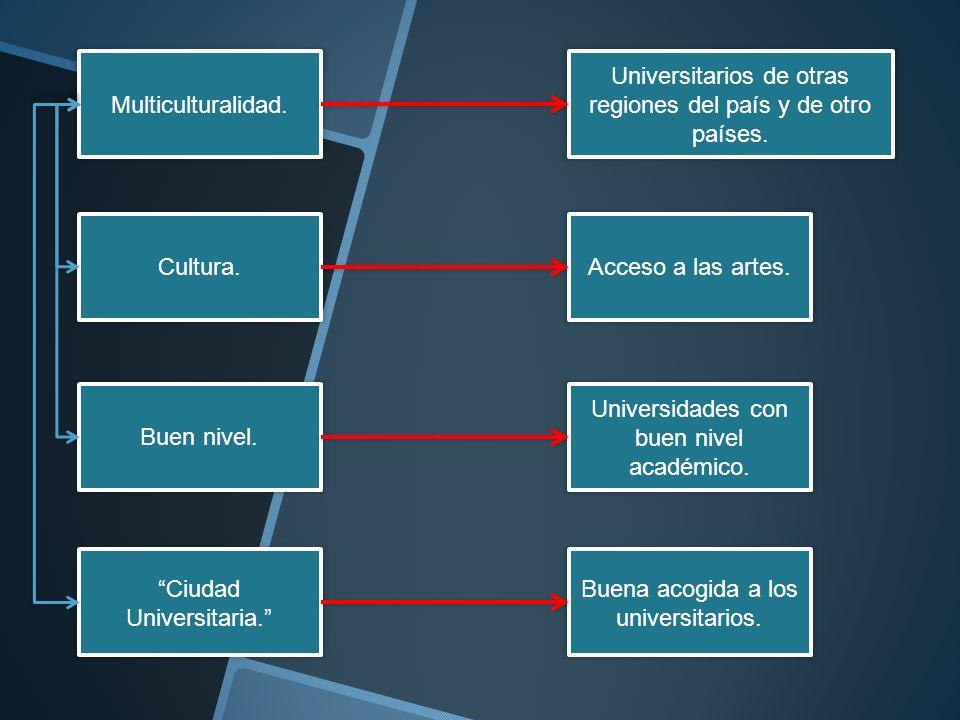 Multiculturalidad. Cultura. Buen nivel. Ciudad Universitaria. Universitarios de otras regiones del país y de otro países. Acceso a las artes. Universi