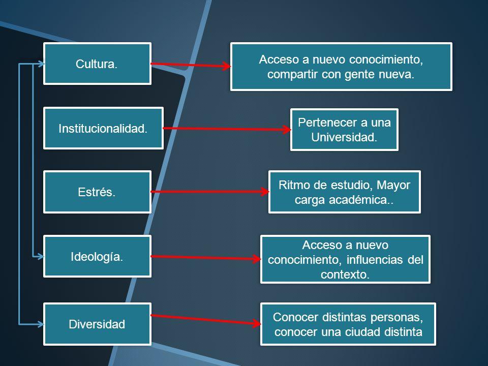 Cultura. Institucionalidad. Estrés. Ideología. Diversidad Acceso a nuevo conocimiento, compartir con gente nueva. Pertenecer a una Universidad. Ritmo