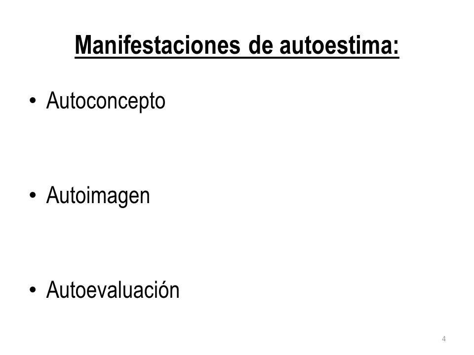 Manifestaciones de autoestima: Autoconcepto Autoimagen Autoevaluación 4
