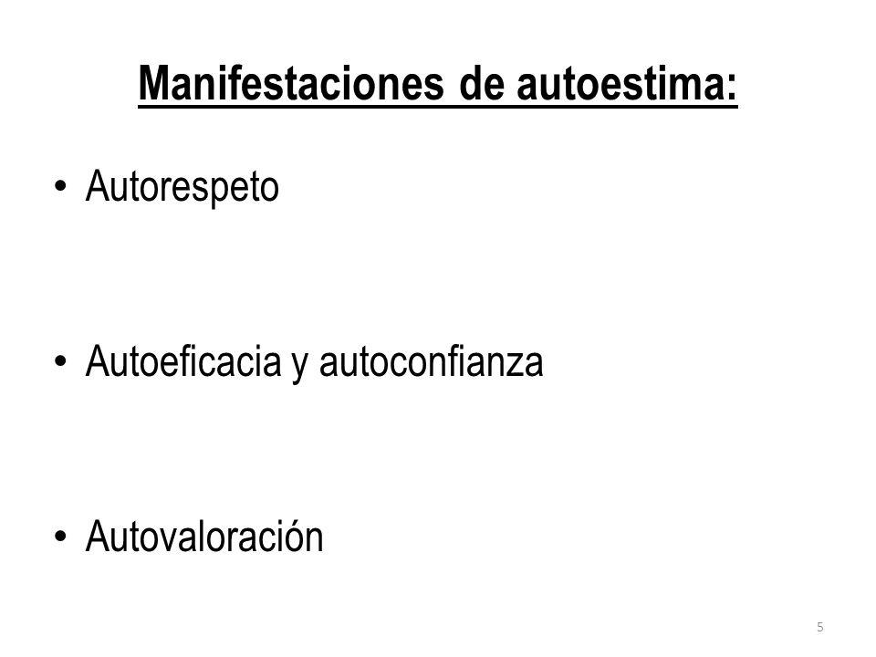 Manifestaciones de autoestima: Autorespeto Autoeficacia y autoconfianza Autovaloración 5