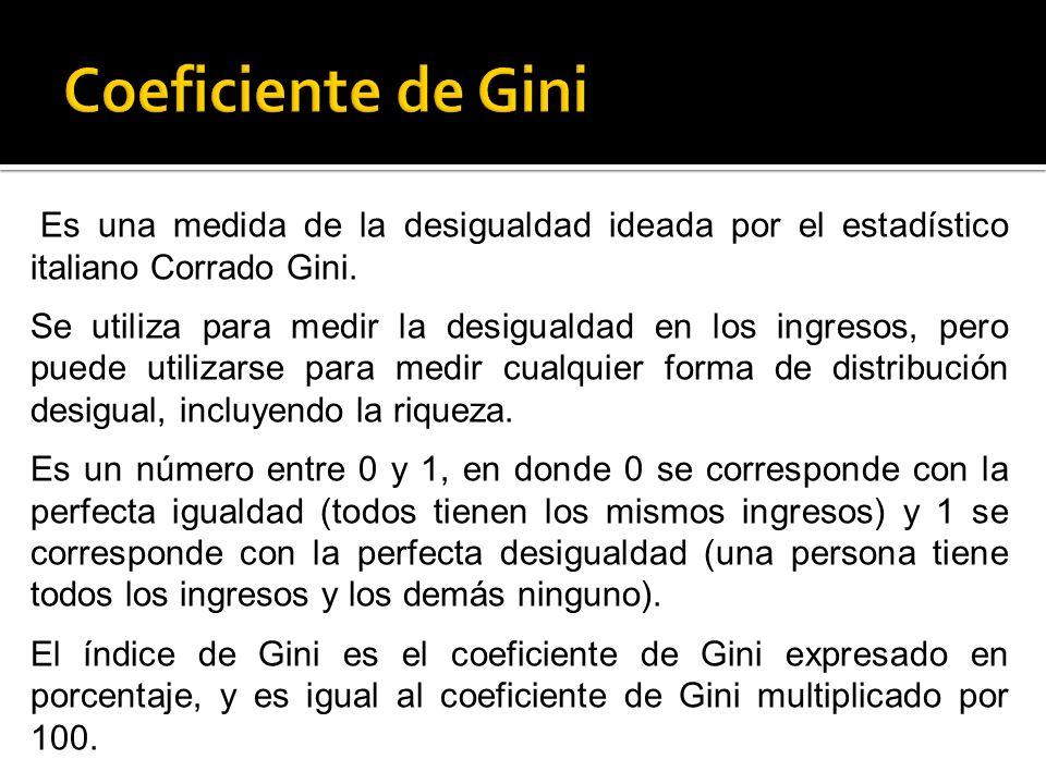 Es una medida de la desigualdad ideada por el estadístico italiano Corrado Gini. Se utiliza para medir la desigualdad en los ingresos, pero puede util