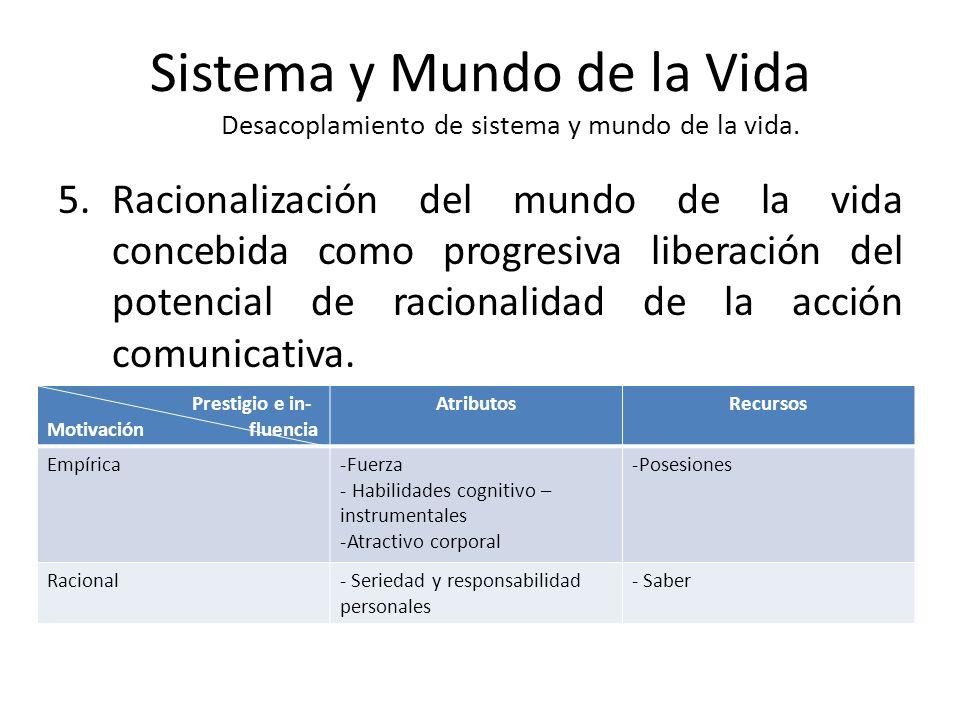 Sistema y Mundo de la Vida Desacoplamiento de sistema y mundo de la vida. 5.Racionalización del mundo de la vida concebida como progresiva liberación