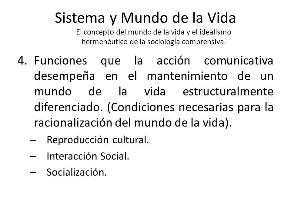 Sistema y Mundo de la Vida El concepto del mundo de la vida y el idealismo hermenéutico de la sociología comprensiva. 4.Funciones que la acción comuni