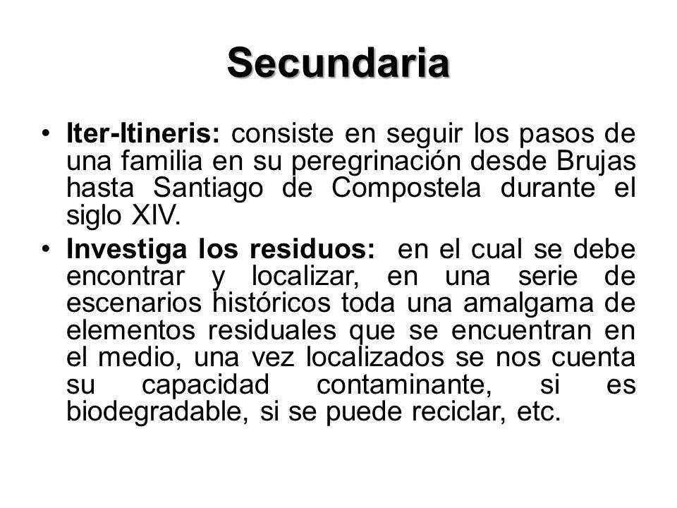 Secundaria Iter-Itineris: consiste en seguir los pasos de una familia en su peregrinación desde Brujas hasta Santiago de Compostela durante el siglo X