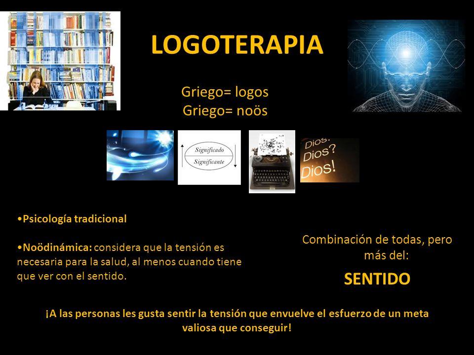 LOGOTERAPIA Griego= logos Griego= noös Combinación de todas, pero más del: SENTIDO Psicología tradicional Noödinámica: considera que la tensión es nec