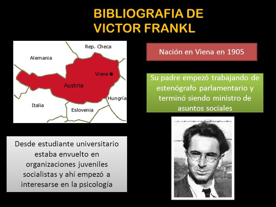 BIBLIOGRAFIA DE VICTOR FRANKL Nación en Viena en 1905 Su padre empezó trabajando de estenógrafo parlamentario y terminó siendo ministro de asuntos soc