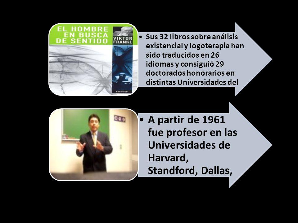 Sus 32 libros sobre análisis existencial y logoterapia han sido traducidos en 26 idiomas y consiguió 29 doctorados honorarios en distintas Universidad
