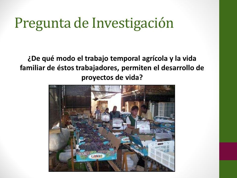 Pregunta de Investigación ¿De qué modo el trabajo temporal agrícola y la vida familiar de éstos trabajadores, permiten el desarrollo de proyectos de v