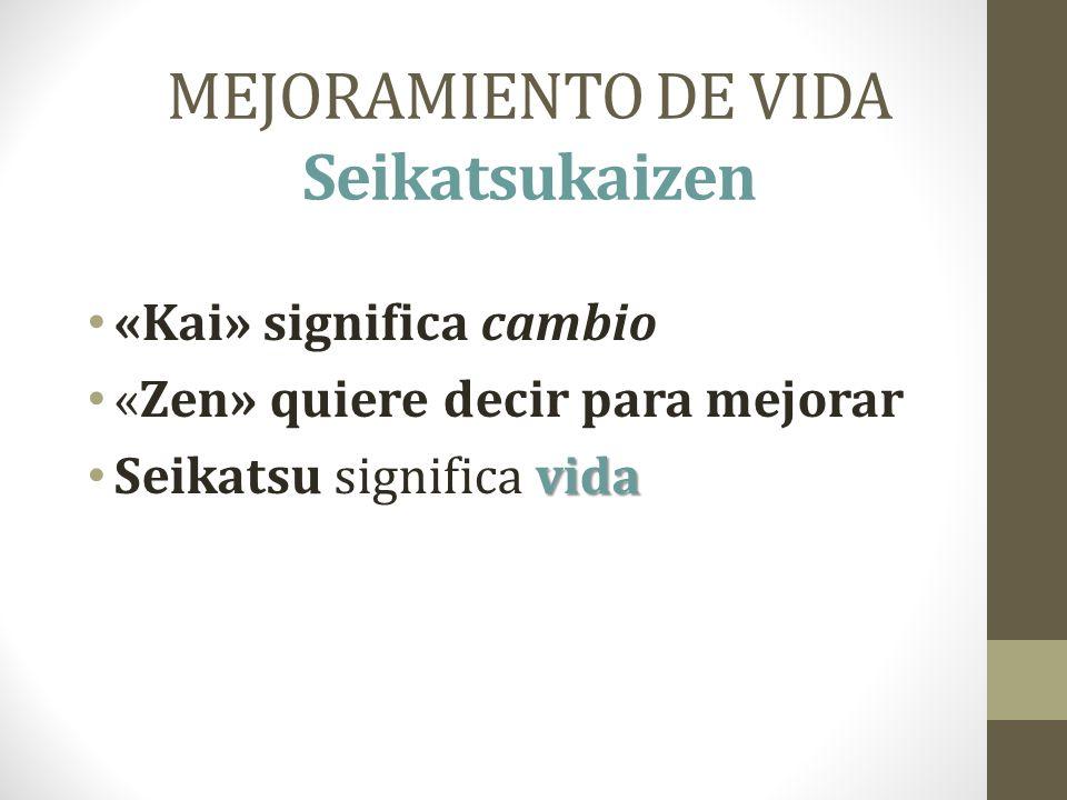 MEJORAMIENTO DE VIDA Seikatsukaizen «Kai» significa cambio «Zen» quiere decir para mejorar vida Seikatsu significa vida